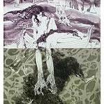 4.- La Isla del Hada (IV), Aguafuerte y aguatinta, mancha 38 x 27 cm., soporte 38 x 27 cm.