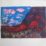 2.- Primavera, Litografía, mancha 33,5 x 47,5 cm., soporte 74 x 52  cm.