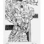3.- Coplas a la Muerte de su Padre (III),  Puntaseca y Buril, mancha 32,5 x 24,5 cm., soporte 48,5 x 37,5 cm.
