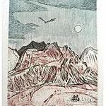 4.- Las Águilas (IV), Aguafuerte, aguatinta y punta seca, mancha 32 x 24,5 cm., soporte 48,5 x 37,5 cm.