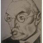 1.- Retrato de Unamuno, Litografía, mancha 31 x 24 cm., soporte 31 x 24 cm.