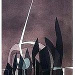 9.- La noche y la llama (VIII), Aguafuerte y aguatinta, 48,5 x 38 cm., soporte 48,5 x 38 cm.