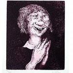 7.- Don Pablos cuenta quien es y de donde,  Aguafuerte, mancha 29 x 24,5 cm., soporte 48,5 x 38 cm.