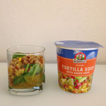 hot tortilla soup(1 serving) pored over raw organic spinach (1/2 c)