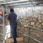Lundi 17 mai - 1ère réunion de chantier - échafaudage intérieur de la tour