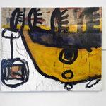 """M. Oberlik, """"Erinnerungen #1"""", 2015, MT auf Papier auf Leinwand, 120x100cm"""