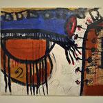 """M. Oberlik, """"Erinnerungen #2"""", 2015, MT auf Papier auf Leinwand, 120x100 cm"""