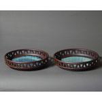 白岩焼和兵衛窯 海鼠釉透かし菓子鉢