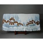 白岩焼和兵衛窯 白釉菖蒲文板皿