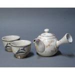 白岩焼和兵衛窯 粉引急須 粉引煎茶碗