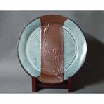 白岩焼和兵衛窯 海鼠釉百合文大皿
