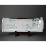 白岩焼和兵衛窯 白釉椿文板皿