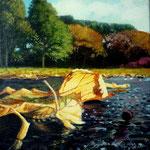 Herfstbladeren I, Acrylverf op doek, 20cm x 20cm, 2011. VERKOCHT
