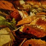 Herfstbladeren II , Acrylverf op doek, 20cm x 20cm, 2011.  VERKOCHT.