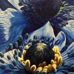 Anemonas azules, 120cm x 40cm, acrilico sobre tela, 2010, VERKOCHT.