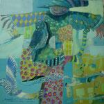 Espantapajaros con sombrero, 40cm x 40cm, acrilico sobre panel, 2012. Disponible