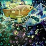 Espanta pez y serpiente, 30cm x 30cm, acrilico sobre panel, 2012.
