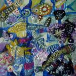 Espantajaros y gato azul, 20cm x 20cm, acrilico sobre panel, 2012.