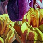 tulipanes amarillos y violeta, 20cm x 20cm, acril s / tela, 2010, Verkocht.