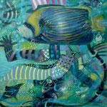 Espantapajaro cabeza de pez, 40cm x 40cm, acrilico sobre panel, 2012.