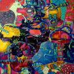 Espantapajaros y unicornio, 150cm x100cm, acrilico sobre lino, 2013. Coleccion privada, Honduras.