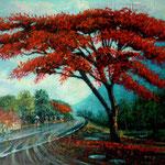 Malinche y reflejos, acrilico sobre lienzo, 40cm x 50cm, 2013. Disponible