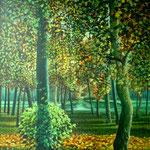Herfst en vijver, Acrylverf op linnen, 120cm x 100cm, 2011. DISPONIBLE