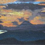 Atardecer en ometepe, acrilcio sobre lino, 40cm x 90cm, 2010, coleccion privada
