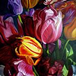 Tulipanes mixtos, 90cm x 70cm, acrilico sobre lino, 2010, VERKOCHT.