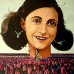 Anne Frank, 90cm x 70 cm, acryl op linnen, 2013. prive colletie.