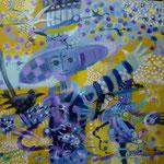 Espantapajaro fondo amarillo, 40cm x 40cm, acrilico sobre panel, 2012. Disponible