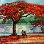Malinche y trinitarias, acrilico sobre lienzo, 60cm x 100cm, 2013. Disponible