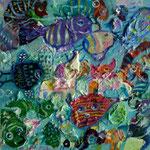 Zoologico azul, 20cm x 20cm, acrilico sobre panel, 2012.