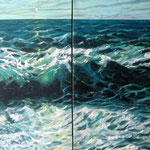 Diptico de mar, acrilico sobre lino, 60cm x 120cm, 2008,