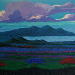 Managua vsita del xolotlan, 50cm x 150cm, acrilico sobre tela, 2004, Vendido.