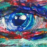 Blauweogen, 50cm x 60cm , acryl op papier, 2007. Verkocht.