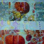 Espantapajaros y bus, 60cm x 50cm, acrilico sobre lino, 2012.