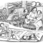 児童書「ねえ、さあやちゃん」[文芸社] p.16-17(色鉛筆)