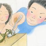 絵本「マサヒロとあたし」[文芸社]p.23-25(色鉛筆)