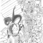 児童書「かげぼうし黒太、夏を行く」[文芸社] p.66(色鉛筆)