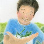 絵本「マサヒロとあたし」[文芸社]表紙(色鉛筆)