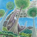 絵本「エプスの願い」エプス星人地球に着陸(色鉛筆)
