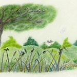 絵本「マサヒロとあたし」[文芸社]p.30(色鉛筆)