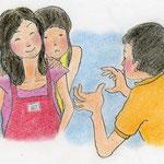 絵本「マサヒロとあたし」[文芸社]p.16(色鉛筆)