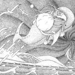 サンタ(銅版画ーエッチング)