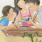 絵本「マサヒロとあたし」[文芸社]p.5(色鉛筆)