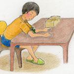 絵本「マサヒロとあたし」[文芸社]p.17(色鉛筆)