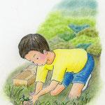 絵本「マサヒロとあたし」[文芸社]p.9(色鉛筆)
