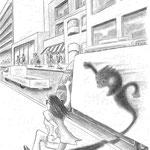 児童書「かげぼうし黒太、夏を行く」[文芸社] p.21(色鉛筆)