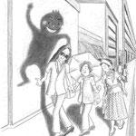 児童書「かげぼうし黒太、夏を行く」[文芸社] p.9(色鉛筆)